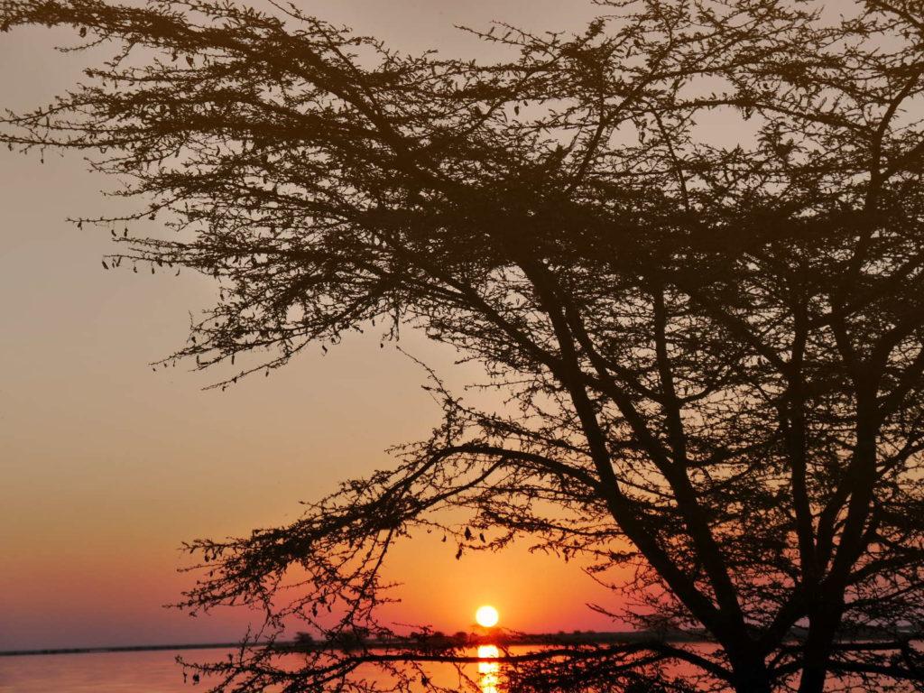 Sonnenuntergang im Nata Bird Sanctuary